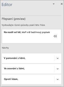 """Podokno editoru s návrhy pro přepsání textu """"as compared to"""" (""""v porovnání s"""")"""