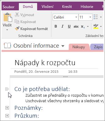 Snímek obrazovky s postupem, jak sbalit osnovu ve OneNotu 2016