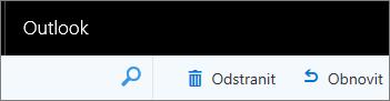 Snímek obrazovky zobrazuje panel nástrojů v Outlooku na Webu, s možnostmi Odstranit a Obnovit.