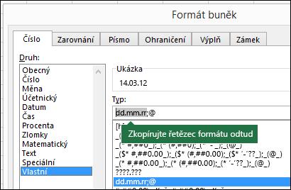 Příklad použití dialogu Formát > Buňky > Číslo > Vlastní tak, aby za vás Excel vytvořil formátovací řetězce.