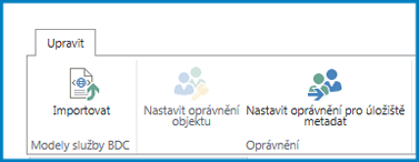 Snímek obrazovky s pásem karet Úpravy v nastavení služby Podnikové připojení zobrazující tlačítko Import modelu služby BDC a nastavení oprávnění