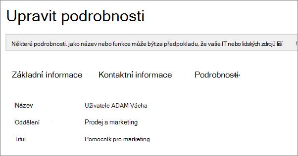Snímek obrazovky s stránku Upravit podrobnosti pro uživatele ve službě Yammer.