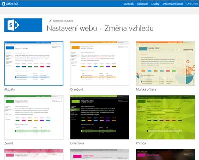 Ukázka návrhů dostupných pro přizpůsobení webu komunity