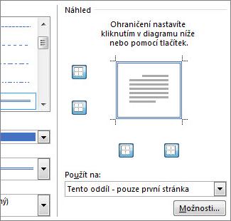Oblast Náhled pro zobrazení ohraničení stránky