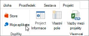 Snímek obrazovky části projektu karta na pásu karet s kurzorem ukazujícím na Moje aplikace. Zvolte Moje aplikace vyberte naposledy použité aplikace, spravovat své aplikace nebo přejděte do obchodu Office pro nové aplikace.