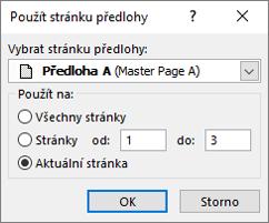 Snímek obrazovky znázorňuje dialogové okno použít stránku předlohy.