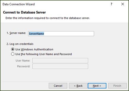 Průvodce datovým připojením > připojit k serveru