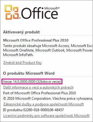 Číslo verze Office