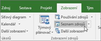 Zobrazení Seznam zdrojů