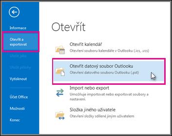 Otevření datového souboru aplikace Outlook