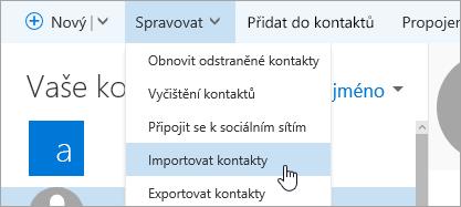 Snímek obrazovky s tlačítkem kontakty importovat.
