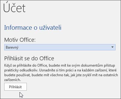 Snímek obrazovky s informacemi o účtu ve Wordu