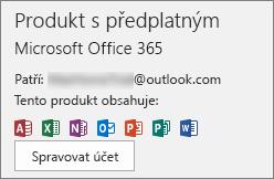 Zobrazuje e-mailový účet, který je přidružený k Office.