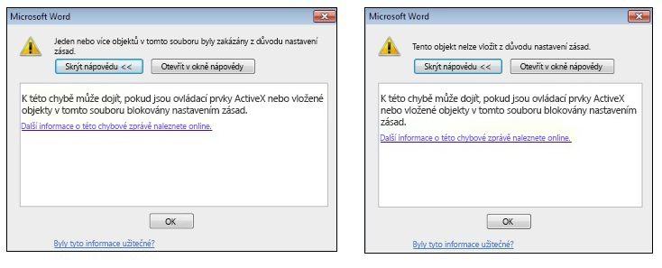 Chybová zpráva týkající se vloženého objektu a ovládacích prvků ActiveX