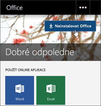 Snímek obrazovky s tlačítkem Nainstalovat Office