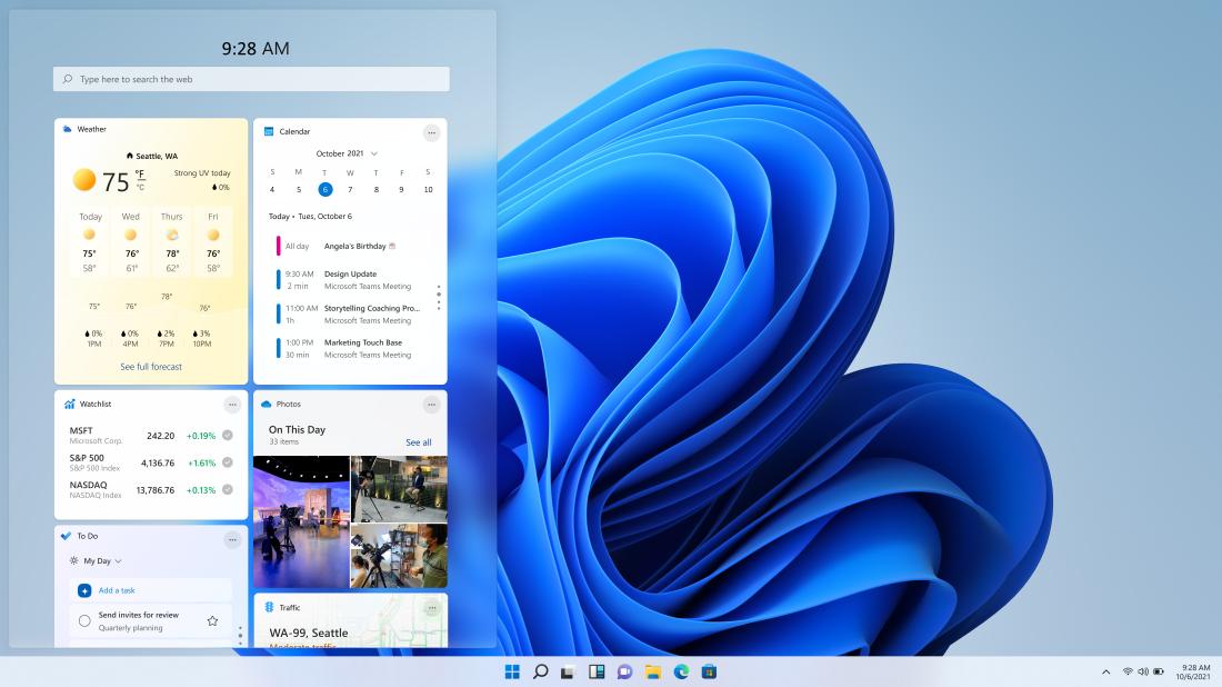 Panel widgetů ve Windows 11