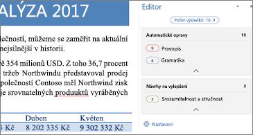Podokno Editor v otevřeném wordovém dokumentu zobrazující problémy zjištěné při kontrole pravopisu, které by se měly opravit