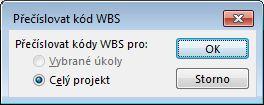 Obrázek dialogového okna Přečíslovat kódy WBS