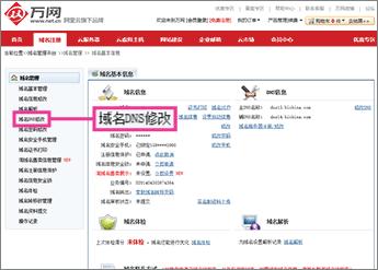 "Klikněte na ""域名DNS修改"""