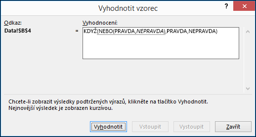 Příklad dialogového okna Průvodce vyhodnocením vzorce