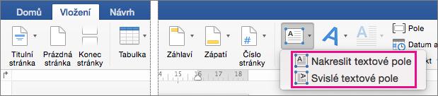 Klikněte na textové pole pro vložení textového pole s textem svislé nebo vodorovné.