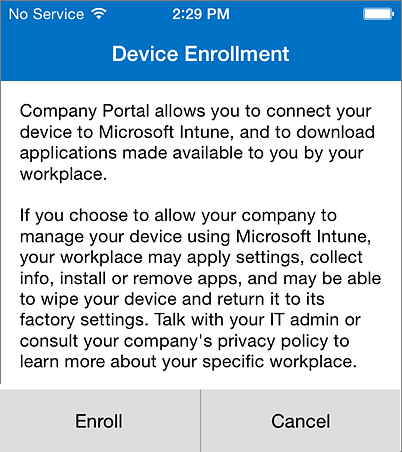 Enroll Company Portal on iPhone