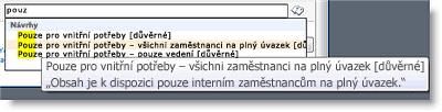 Vysvětlující text usnadní uživatelům vybrat správný termín.