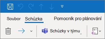 Přidání schůzky přes Teams do pozvánky na schůzku v Outlooku