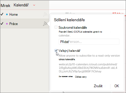 Nastavení veřejný kalendář v iCloud