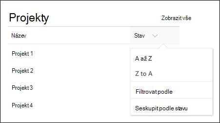 Webová část Seznam s nabídkou řazení, filtrování a skupiny