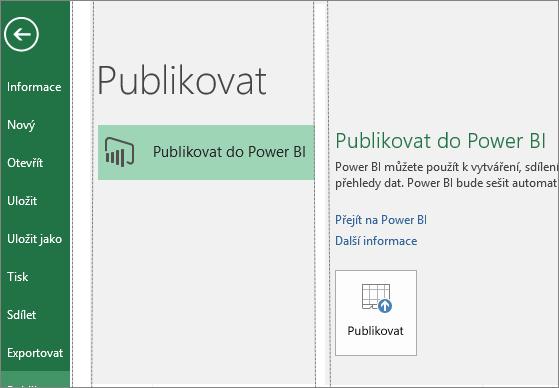 Karta Publikování v Excelu 2016 zobrazující tlačítko Publikovat do Power BI