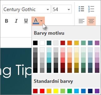 Výběr barvy textu