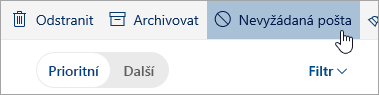 Snímek obrazovky s tlačítkem nevyžádané pošty