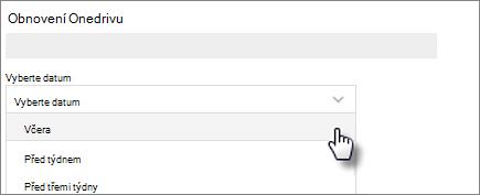 Snímek obrazovky s výběrem data na Obnovit obrazovku Onedrivu