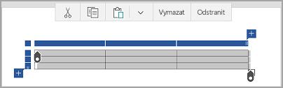 Panel příkazů tabulky Windows Mobile
