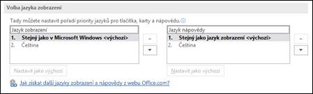Dialogové okno umožňující vybrat jazyk, který Office používá pro tlačítka, nabídky a nápovědu