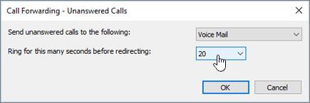 Přesměrování volání přes Skype vyzvánění po tento počet sekund