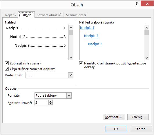 Dialogové okno Obsah slouží k přizpůsobení vzhledu obsahu.