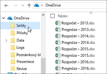 Průzkumníkovi Windows, složka OneDrive, soubory Excelu