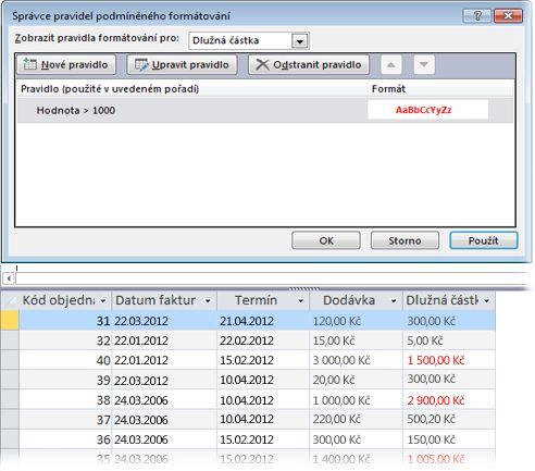 Pravidlo podmíněného formátování společně s pohledem na formulář v zobrazení rozložení s použitým formátem.