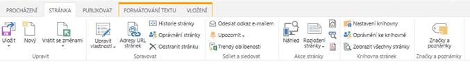 Snímek obrazovky s kartou Stránka, která obsahuje spoustu tlačítek pro úpravu, uložení, rezervaci a vrácení stránek publikování se změnami