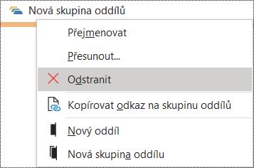 Dialogové okno odstranění skupiny oddílů ve OneNotu pro Windows