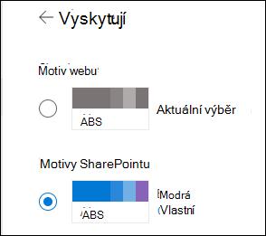 Výběr nového motivu pro web služby SharePoint