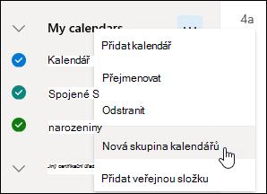 Snímek obrazovky s tlačítkem Nová skupina kalendářů