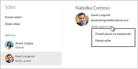 Úpravy sdíleného oprávnění na OneDrive