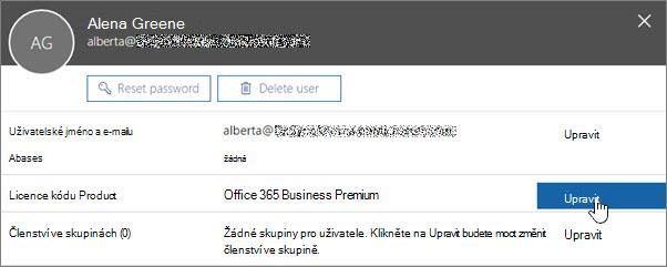 Snímek obrazovky zobrazující akce Upravit licencí
