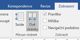 Zobrazení Dvě stránky ve Wordu 2016