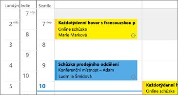 Kalendář se 3 časovými pásmy nalevo a schůzkami napravo