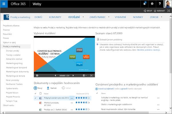 Týmové weby v Office 365 umožňují lidem v organizacích spolupracovat.