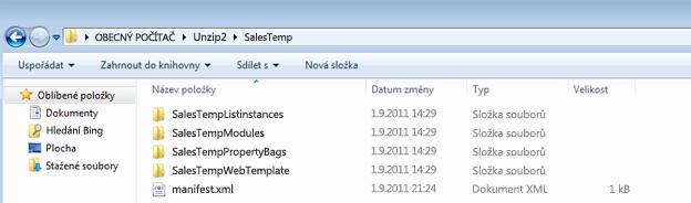 Snímek obrazovky s Průzkumníkem Windows, který zobrazuje rozbalený balíček webového řešení (.wsp)